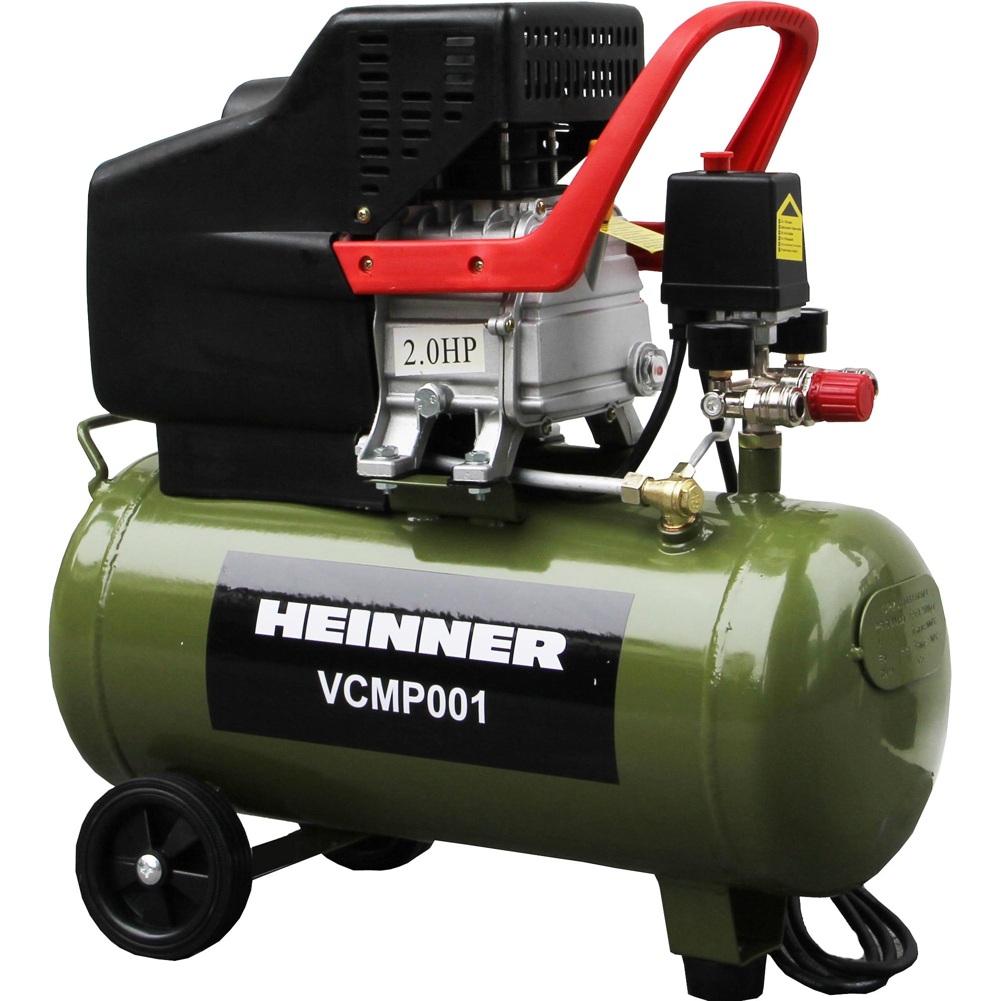 Fotografie Compresor Heinner VCMP001, 2 CP, 24 l capacitate rezervor, 8 bar presiune maxima, 224 l/min debit aer refulat