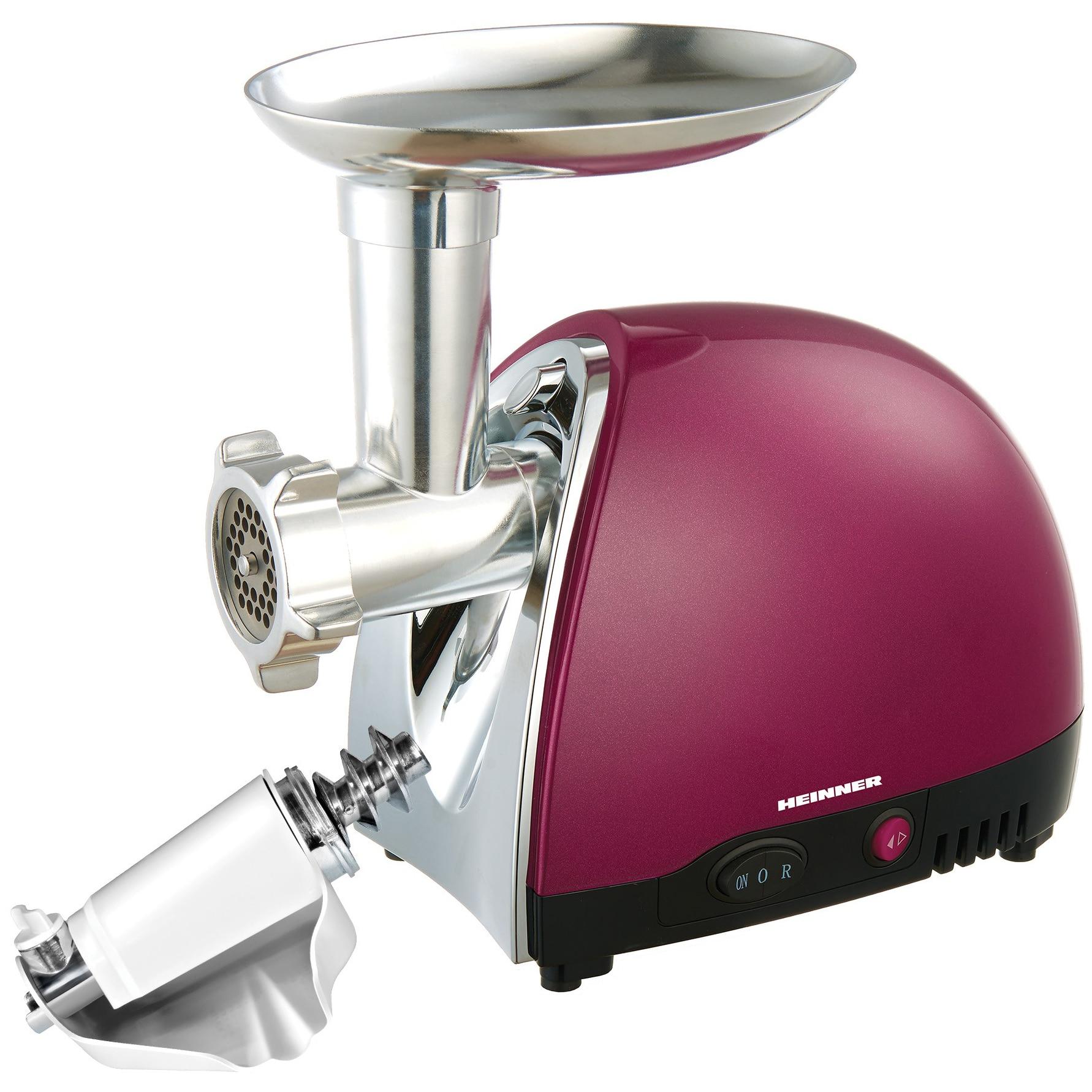 Fotografie Masina de tocat Heinner MG1500TA-BG, 1600 W, Accesoriu pentru rosii si carnati, Cutit inox, Visiniu sidefat
