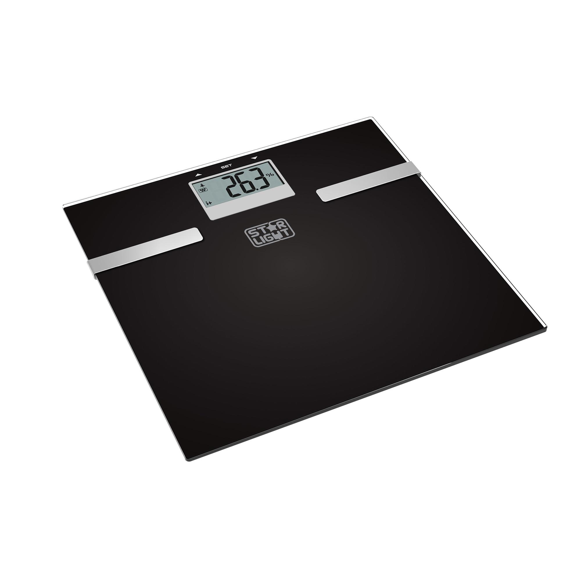 Fotografie Cantar corporal de diagnostic Star-Light BFC-150B, 150 kg, functie BMI, Sticla, Negru/Inox