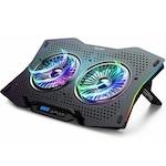 Oхлаждаща ергономична поставка TeckNet ECP01001BA01 RGB Cooling Stand, с 2 вентилаторa, LED подсветка, Черен