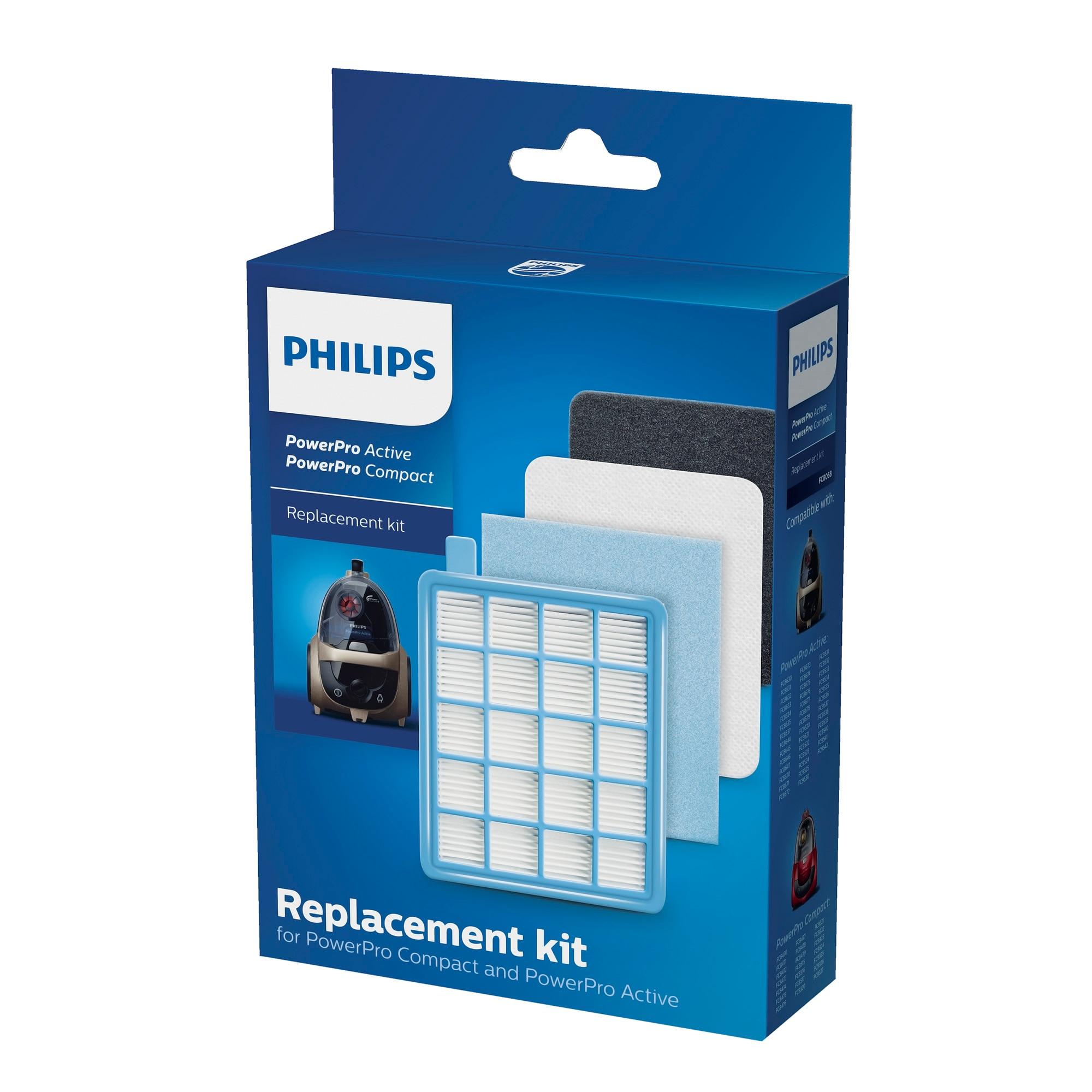 Fotografie Kit de schimb Philips FC8058/01 pentru PowerPro Compact şi Active, 1 filtru HEPA 10, 1 filtru de admisie, 2 filtre de evacuare din burete