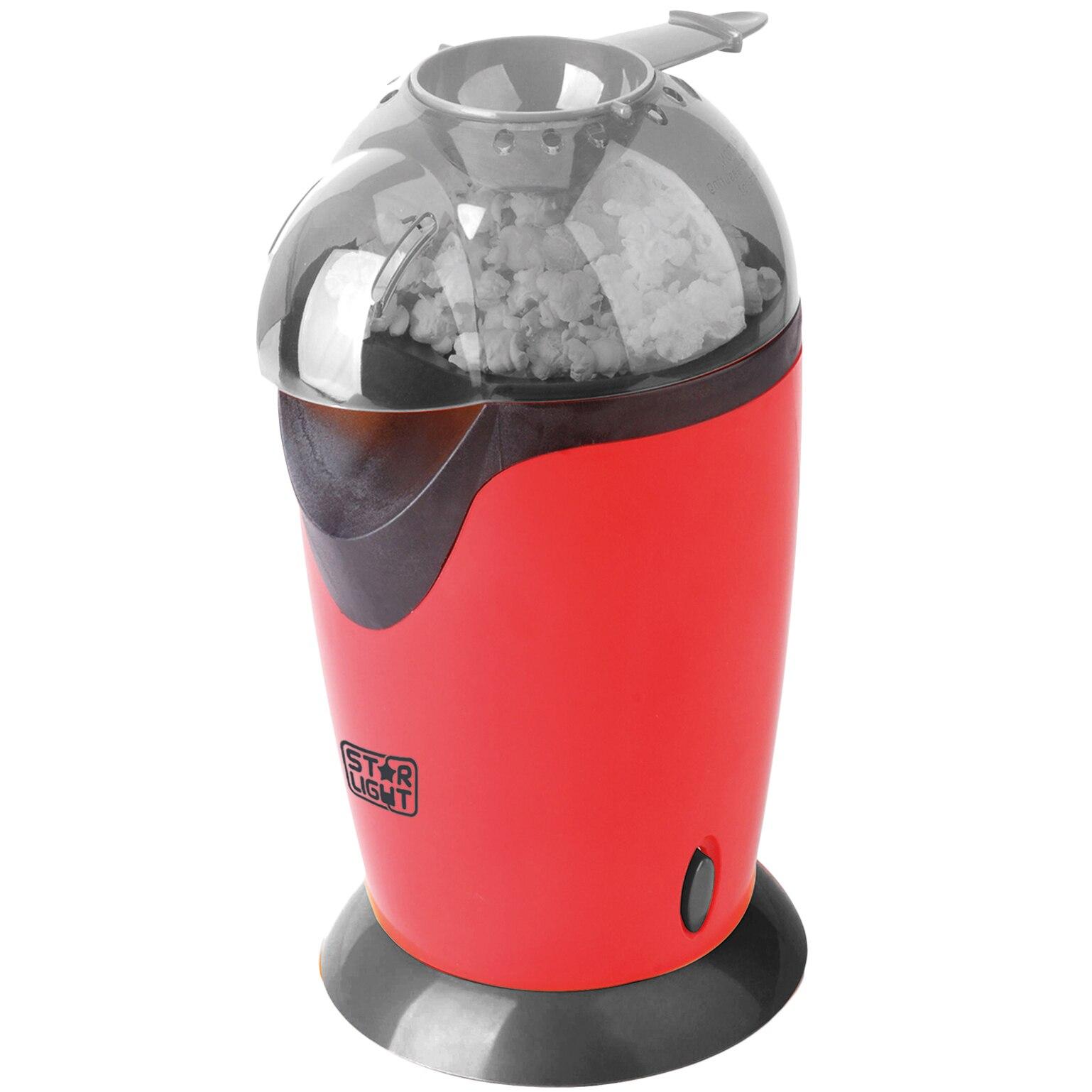 Fotografie Aparat de facut popcorn Star-Light PM-1200R, 1200W, tehnologie cu aer cald, timp de preparare max. 3 min, pahar dozator boabe, Rosu