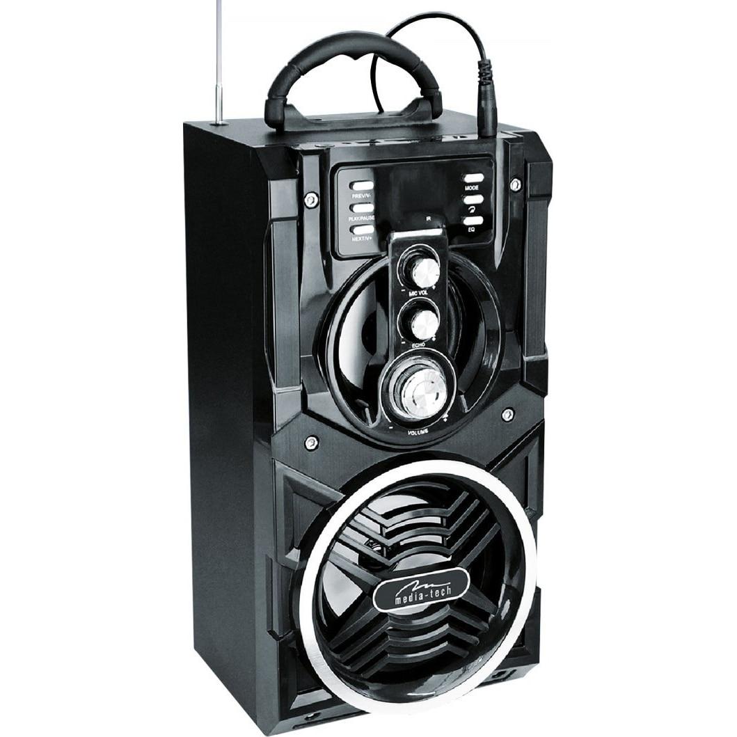 Fotografie Boxa Karaoke Portabila Media-Tech Partybox BT, Radio FM, MP3 Player, 18W RMS, cu Subwoofer, Incinta Lemn, USB + SD, Telecomanda, Antena, Negru