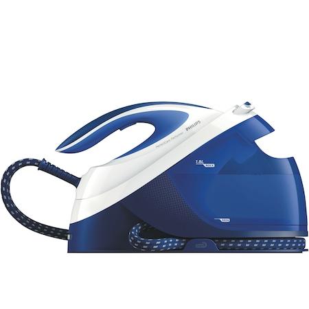 Statie de calcat Philips PerfectCare Performer GC8731/20, OptimalTemp, Talpa SteamGlide, 2400 W, 1.8 l, 390 g/min, Detartrare automata, Soft Grip, Albastru