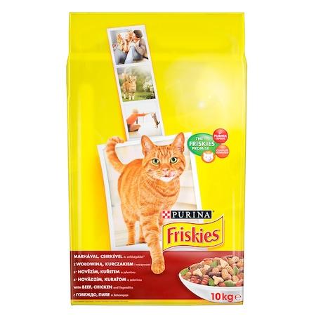 Friskies Adult száraz macskaeledel, Hús- Csirke és Zöldség, 10 kg