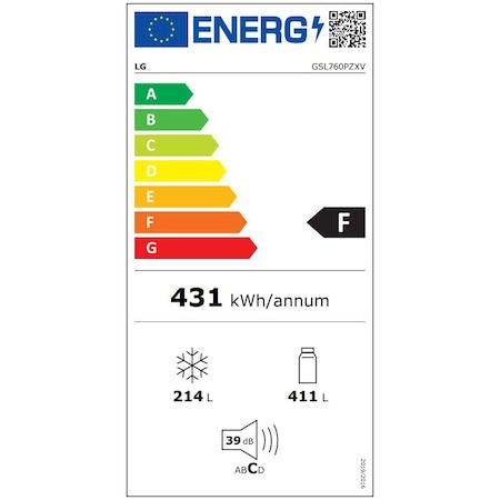 Хладилник Side by side LG GSL760PZXV, 601 л, Клас F, Full NoFrost, Диспенсър за вода, Компресор Inverter linear, H 179 см, Сребрист