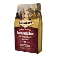 Суха храна за котки Carnilove Sterilised, Агнешко месо и Глиган, 2 кг