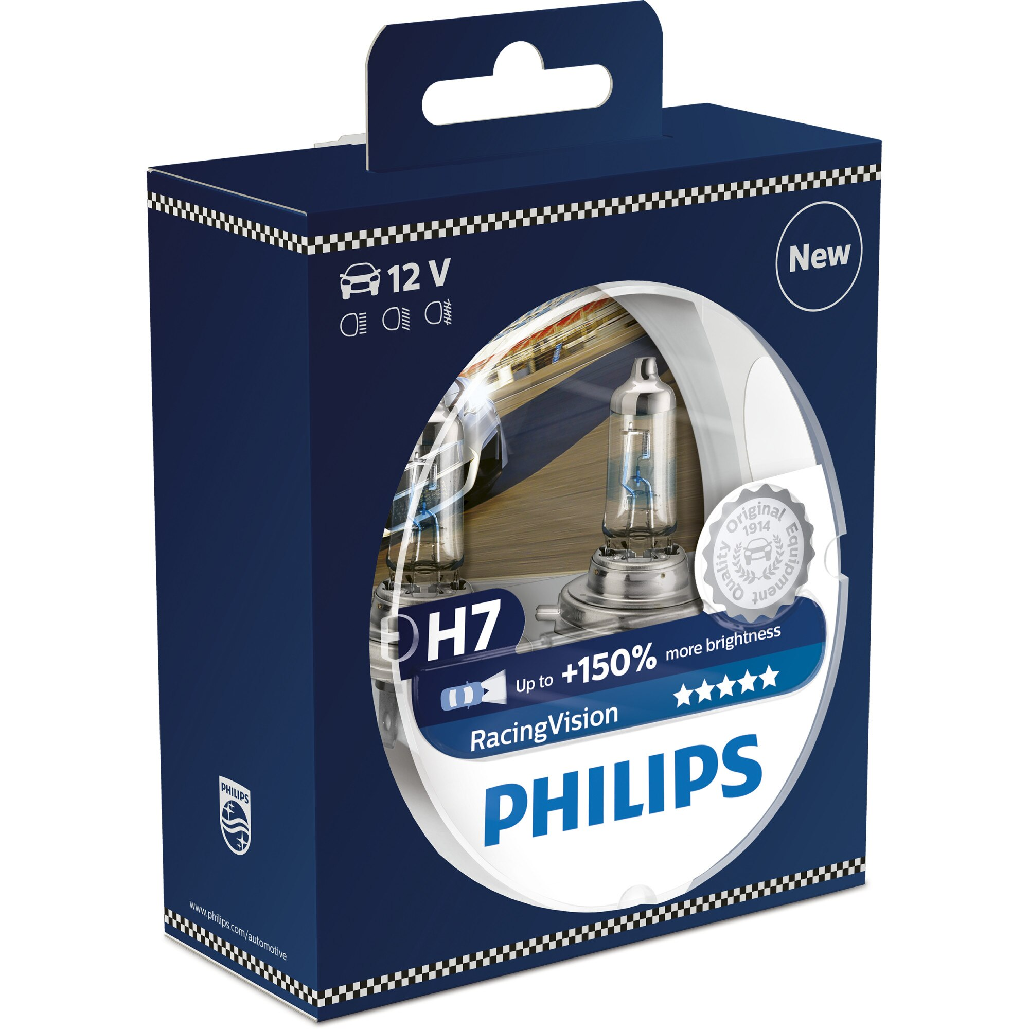 Fotografie Set 2 Becuri auto far cu halogen Philips H7 Racing Vision, 12 V, 55W, 2 buc