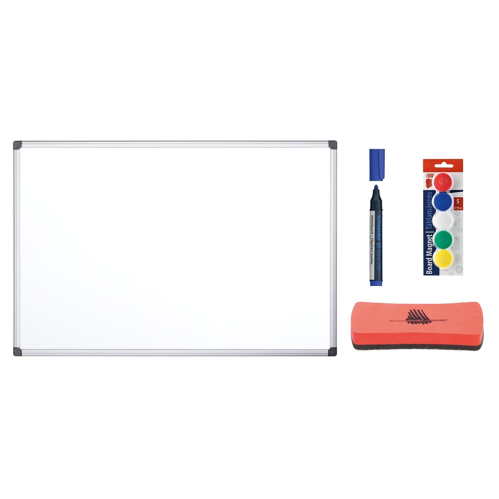 Fotografie Tabla magnetica cu rama aluminiu Bi-Silque 120 x 90 cm si accesorii: magneti ICO