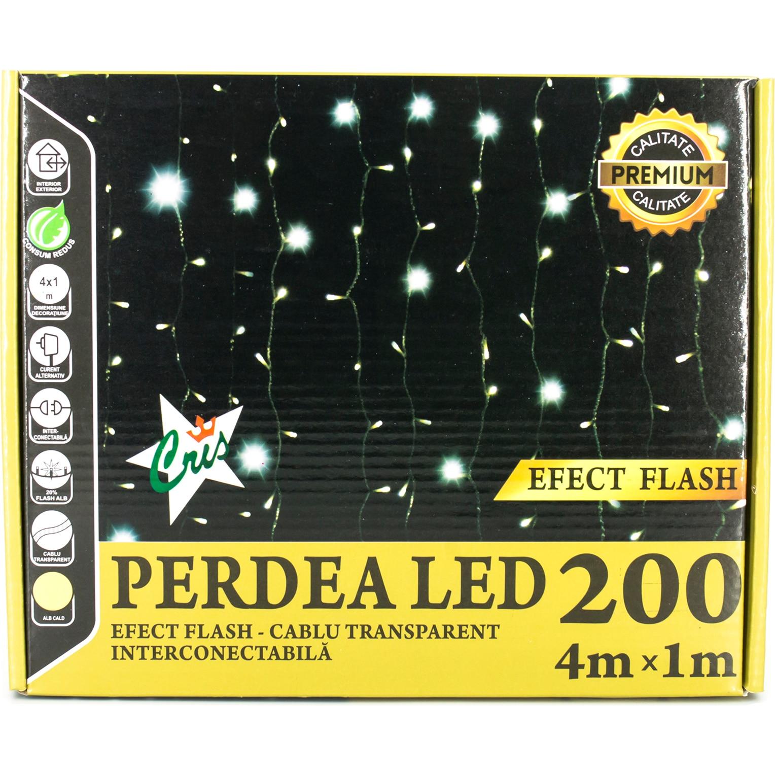 Fotografie Instalatie Decorativa Cris, Perdea 200Led , 4X1M , cu Flash, Interconectabila, Alb Cald, Exterior/