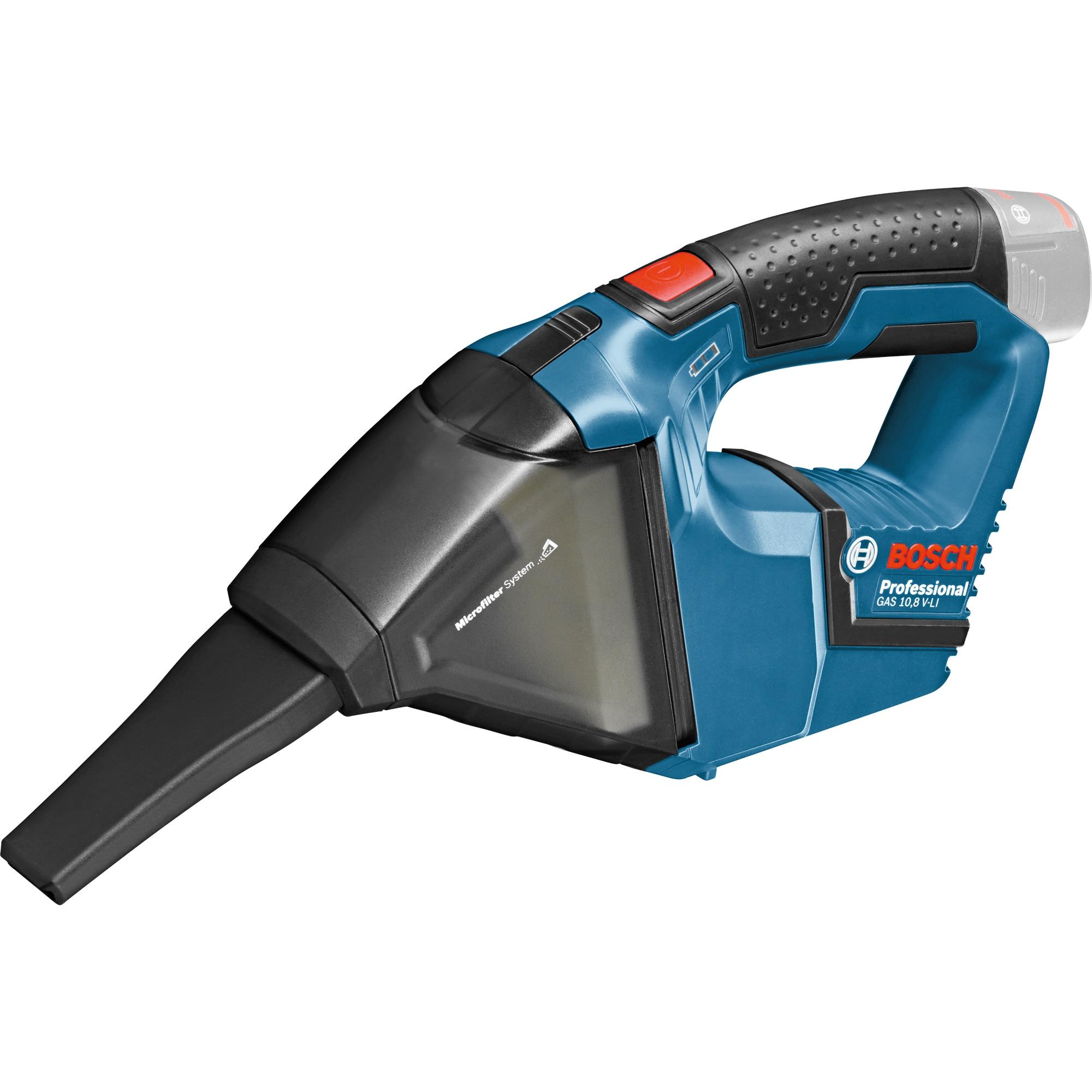 Fotografie Aspirator pe acumulator Bosch Professional GAS 12V, 12 V, 15 l/sec flux aer, 45 mbar, 408 cm² suprafata filtrare, 0.35 l volum rezervor, accesorii incluse