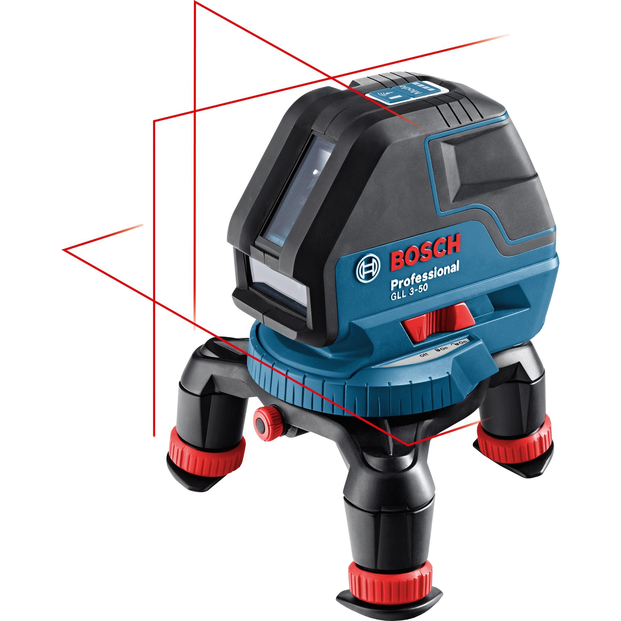Fotografie Nivela laser cu linii Bosch Professional GLL 3-50, 10 m, ± 0.3 mm/m precizie, 635 dioda laser, ± 4° domeniu de autonivelare