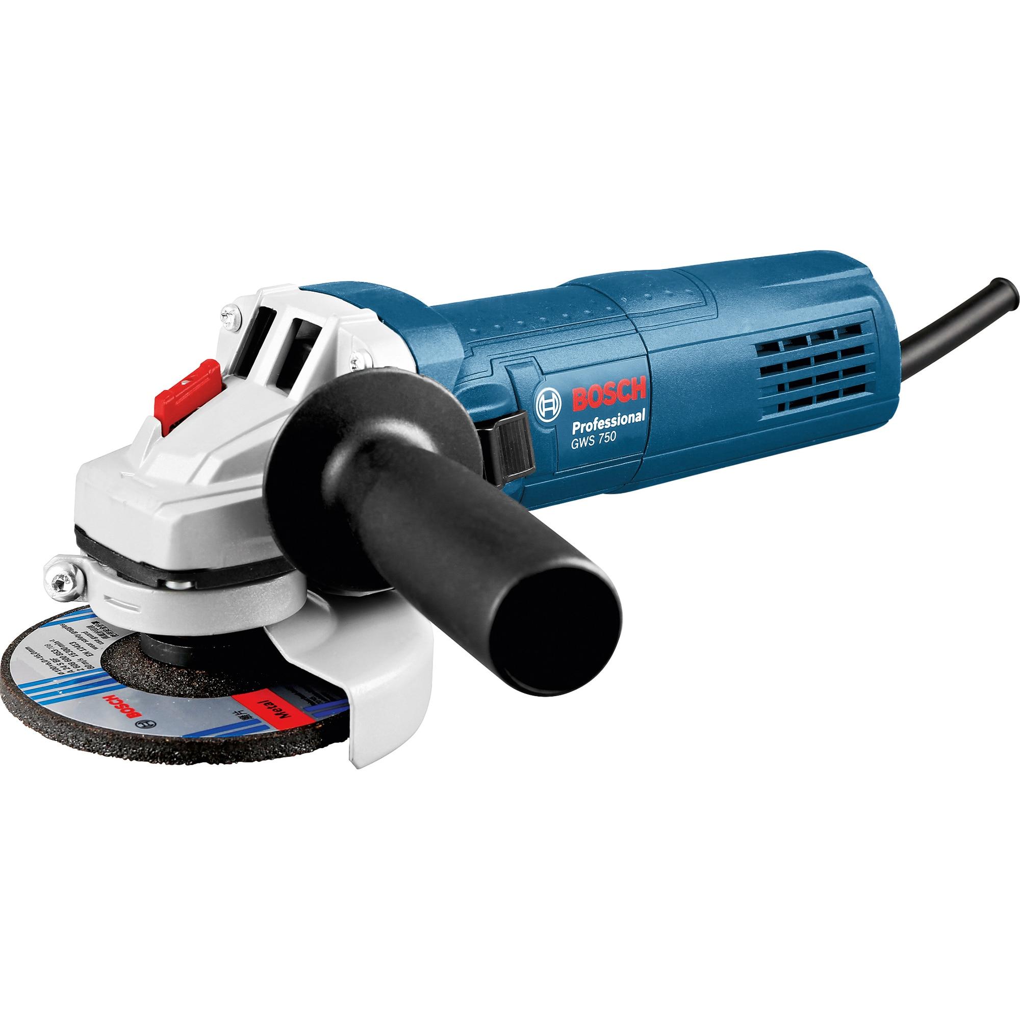 Fotografie Polizor unghiular (flex) Bosch Professional GWS 750, 750 W, 11000 RPM, 125 mm diametru disc, accesorii incluse
