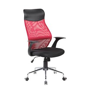 Scaun de birou ergonomic Kring Kados Fit, cu suport lombar, Negru/Rosu