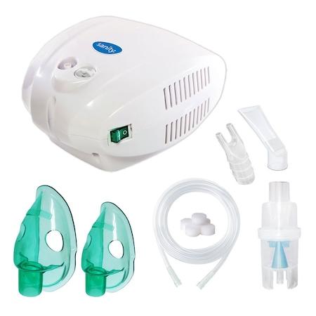 Инхалатор Sanity Alergia Stop Inhaler, aерозолен апарат с компресор, за деца и възрастни, Бял