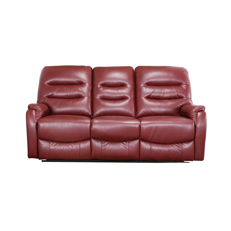 Fotografie Canapea Kring Sylvie Air, piele ecologica air, cu 3 locuri, 2 reclinere si 3 trepte de confort, Maro roscat, 193 x 100 x 101 cm