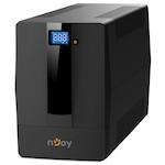 UPS nJoy Horus Plus 2000, 2000VA/1200W, LCD дисплей, 4 контакта Schuko, Auto-restart, RJ11 защита за телефонна линия/модем, Наблюдение и контрол чрез USB, LAN и интернет, USB