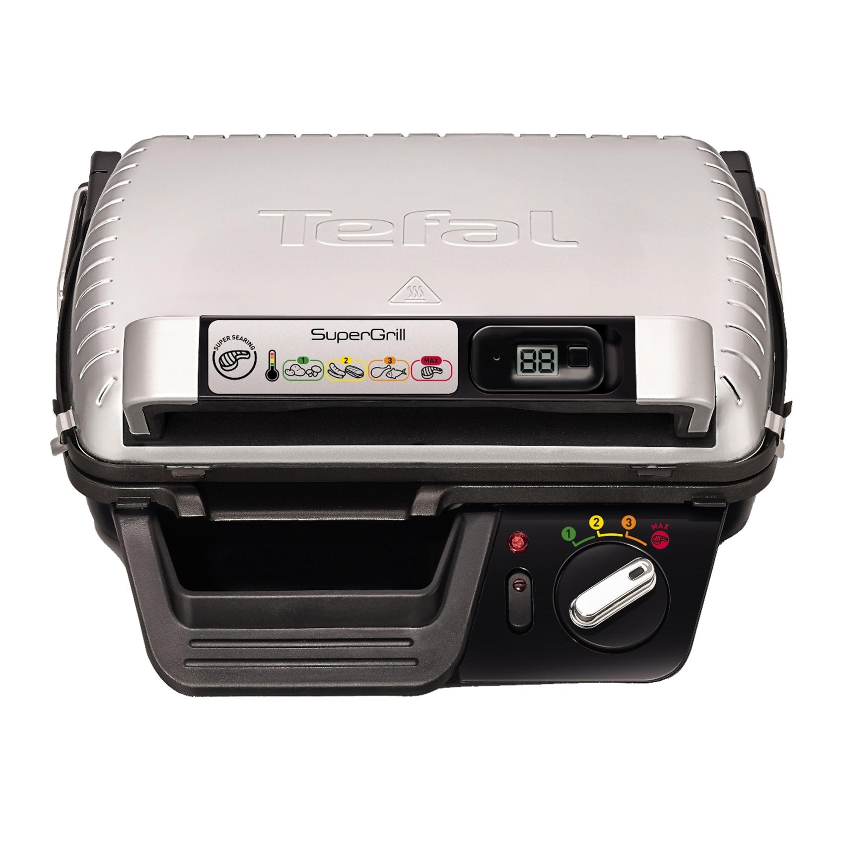 Fotografie Gratar electric cu timer Tefal Super grill GC451B12, 2000 W, 4 Nivele, Inox/Negru