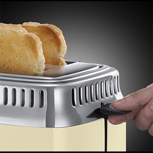 Russell Hobbs 21682-56 Retro kenyérpirító, 2 szeletes, visszaszámláló, pirítási fokozat beállítás - krém/rozsdamentes acél AcGwxd