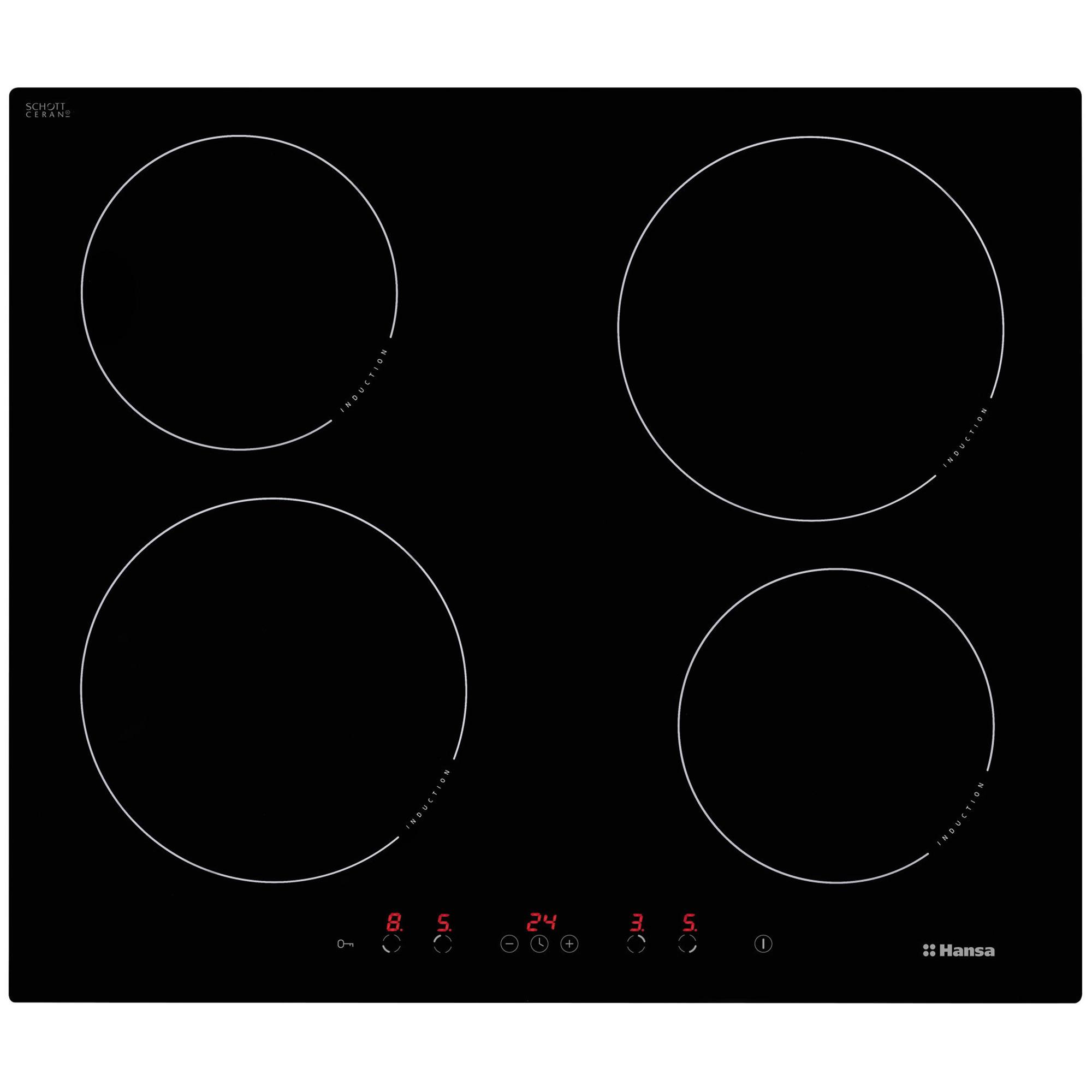 Fotografie Plita incoporabila Hansa BHI68368, Inductie, 4 zone de gatit, Timer, 60 cm, Sticla neagra