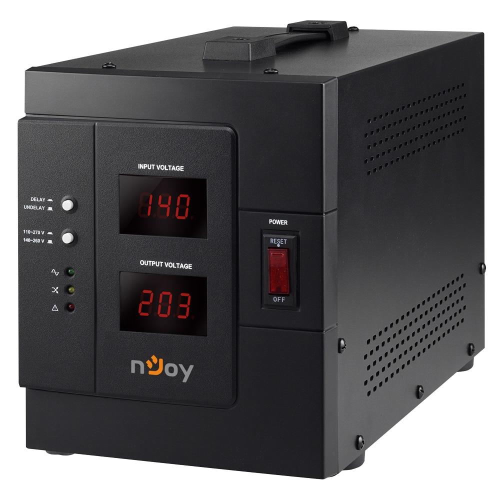 Fotografie AVR nJoy Akin 3000, 3000VA/2400W, cu releu, LCD Display, functie de intarziere la pornire, functie de selectie a tensiunii, 1 priza Schuko si 1 priza IEC 19