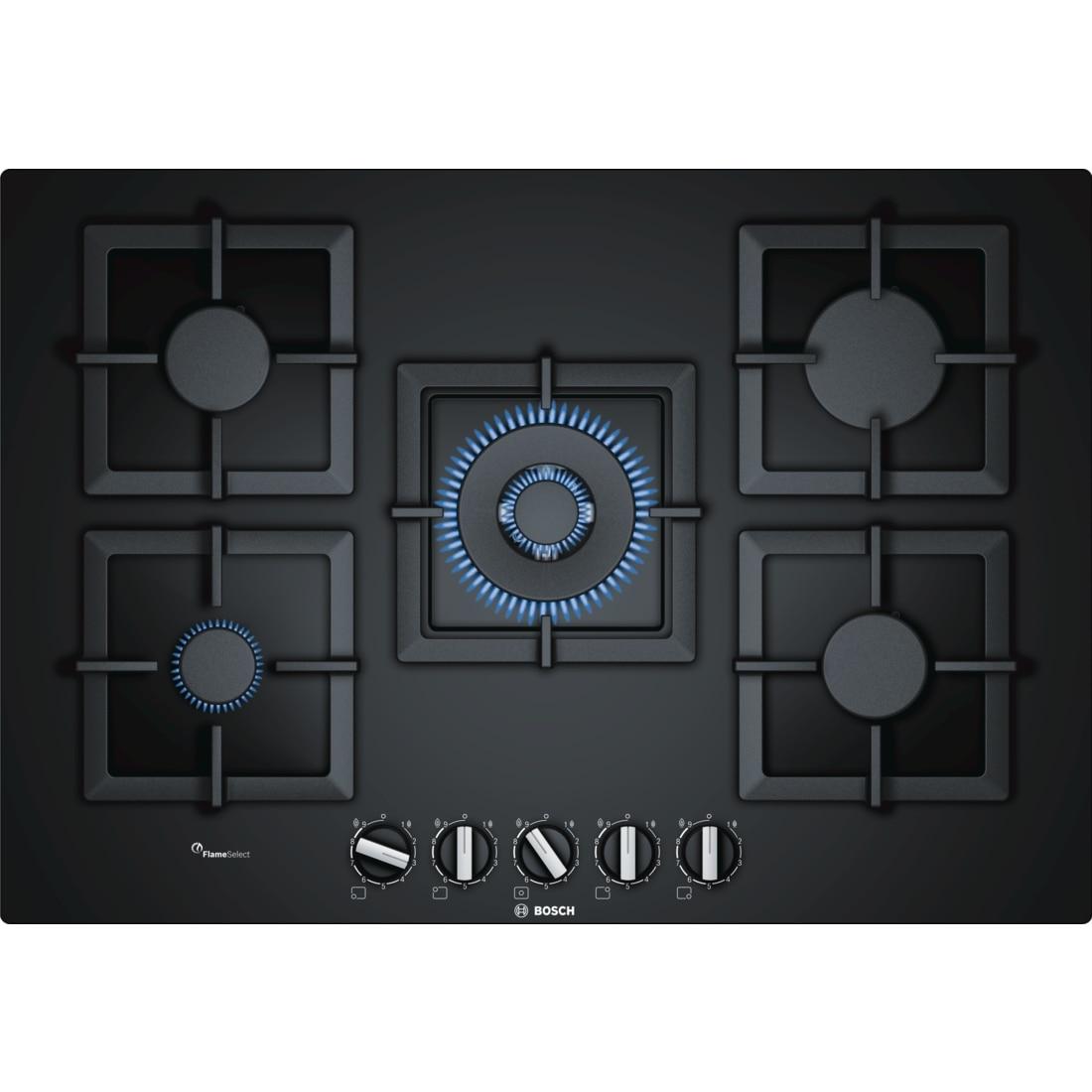 Fotografie Plita incorporabila Bosch PPQ7A6B20, gas, 5 arzatoare, Arzator WOK, Gratare fonta, 75 cm, Sticla neagra