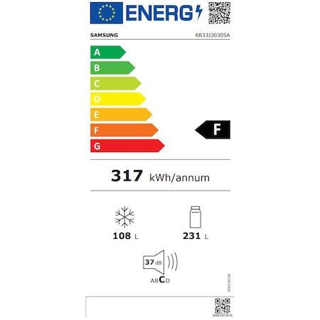 Хладилник с фризер Samsung RB33J3030SA/EF, 328 л, Клас F, No Frost, Компресор Digital Inverter, H 185 см, Инокс