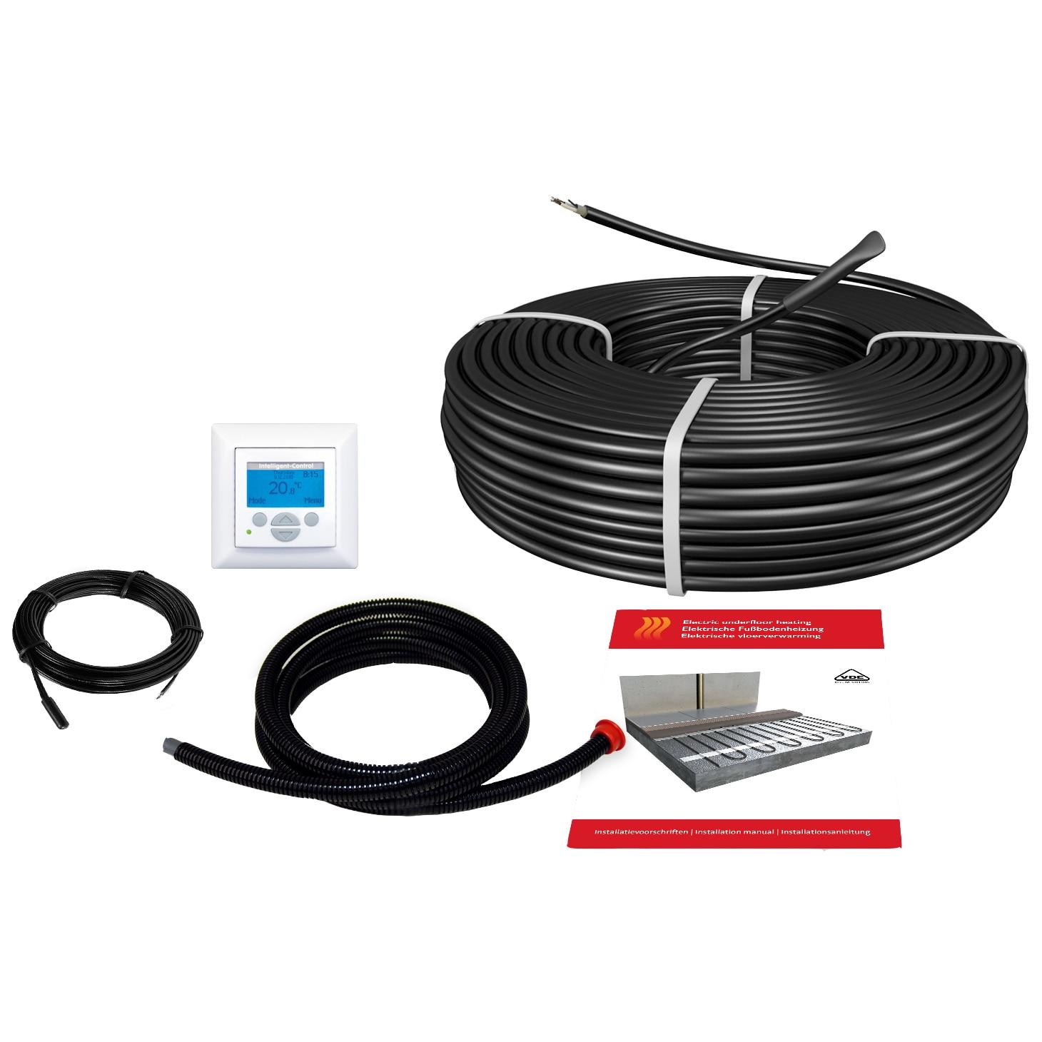 Fotografie Pachet cablu incalzire in pardoseala pentru sapa C&F Technics, (17W) 2600W, termostat digital cu senzor de pardoseala inclus, 152.9 m