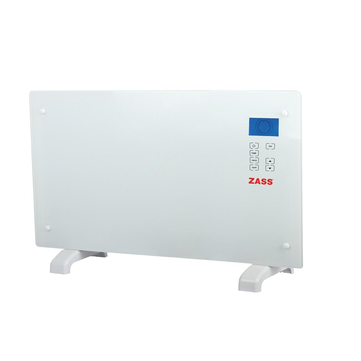 Fotografie Convector electric de podea Zass ZKG 01, 2000 W, Suprafata de sticla, Touch screen, Afisaj LCD, 3 functii, Montare pe perete, Alb