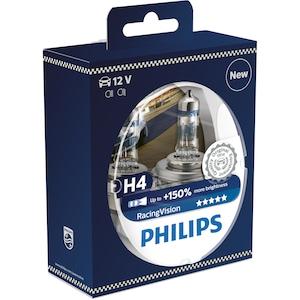 Комплект халогенни крушки за фарове Philips H4 Philips Racing Vision, 150%, 12V 60/55W, 2 броя