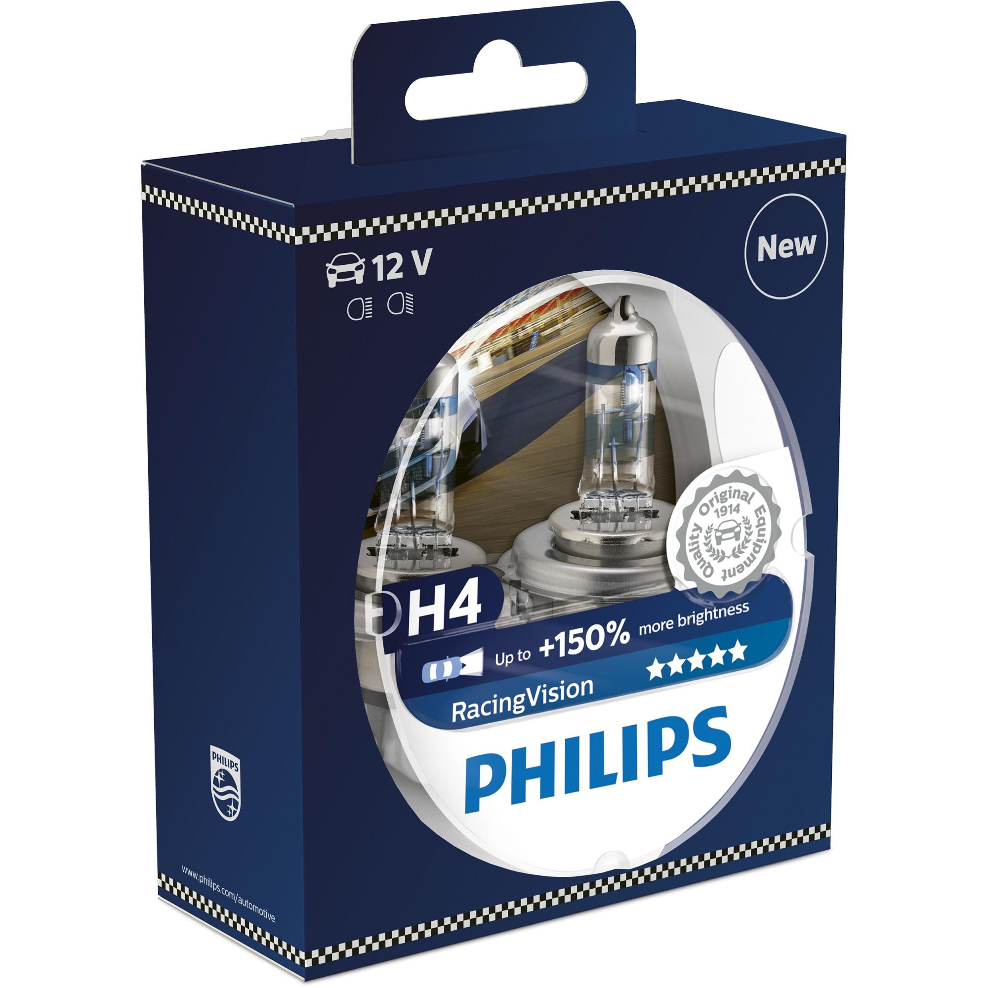 Fotografie Set 2 Becuri auto far halogen Philips H4 Philips Racing Vision, 150%, 12V 60/55W