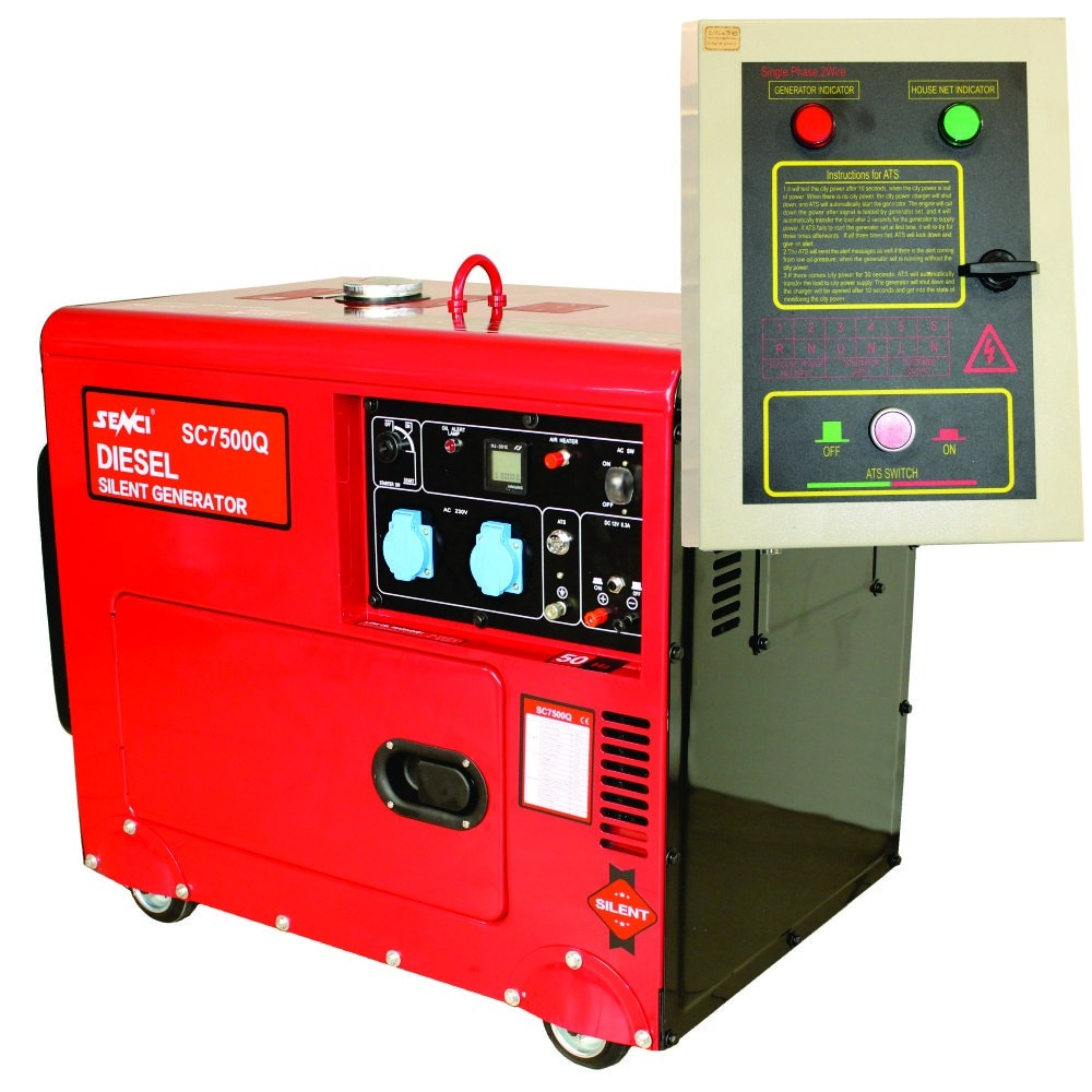 Fotografie Generator curent electric diesel insonorizat profesional Senci SC7500Q, 5500 W, 13 CP, stabilizator de tensiune (AVR), ATS, 230 V, 15 l, regulator de tensiune, 7.5 h autonomie maxima