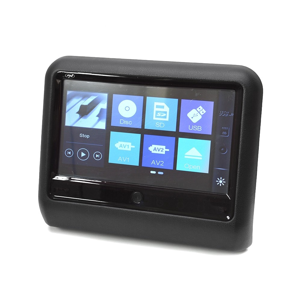 Fotografie Monitor auto multimedia PNI DB900 negru cu ecran tactil de 9 inch, DVD player, slot card SD si USB, aplicabil pe tetiera