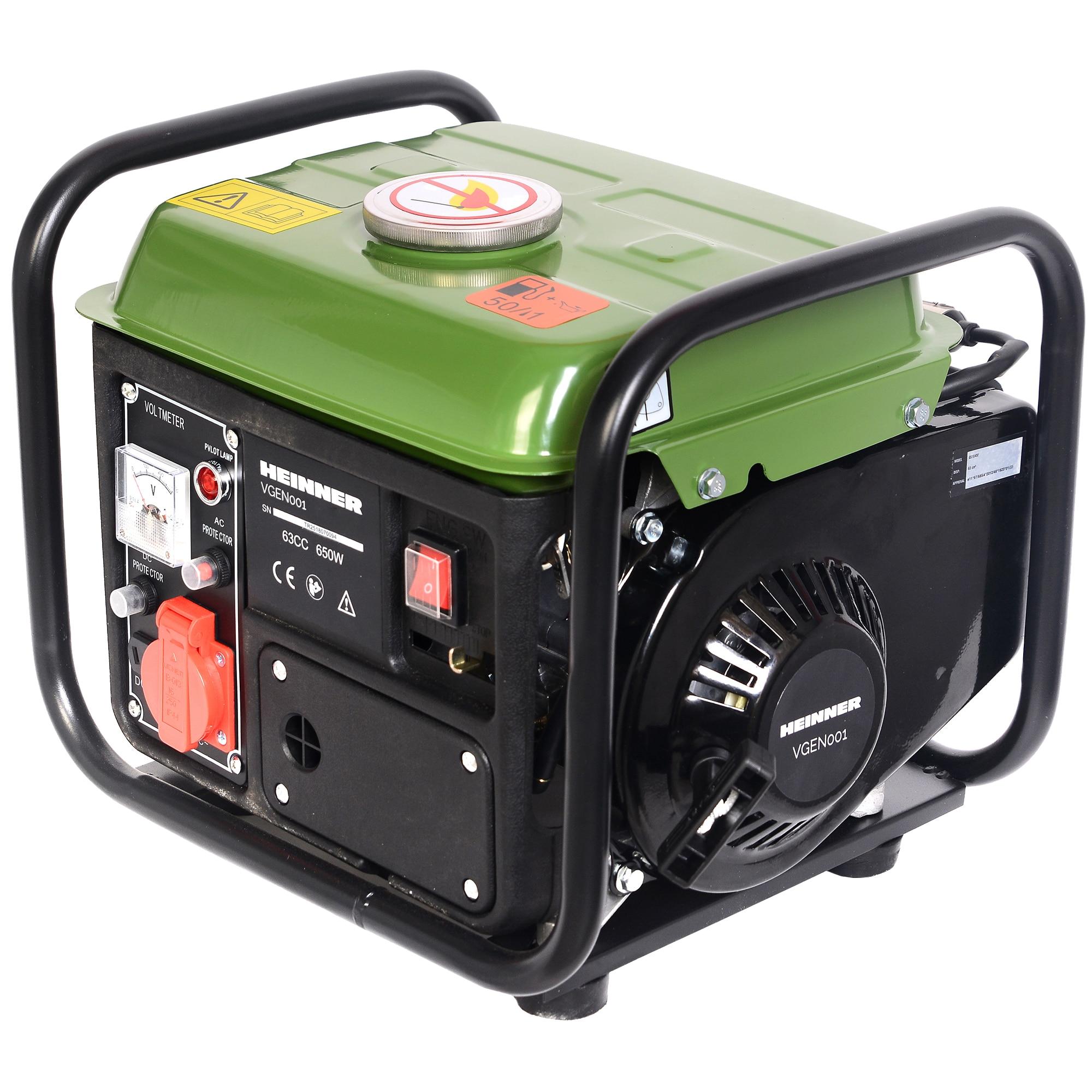 Fotografie Generator Heinner VGEN001, 650 W, 63 CC, 230 V, 2 timpi, 4 l, benzina, 6 h autonomie amxima