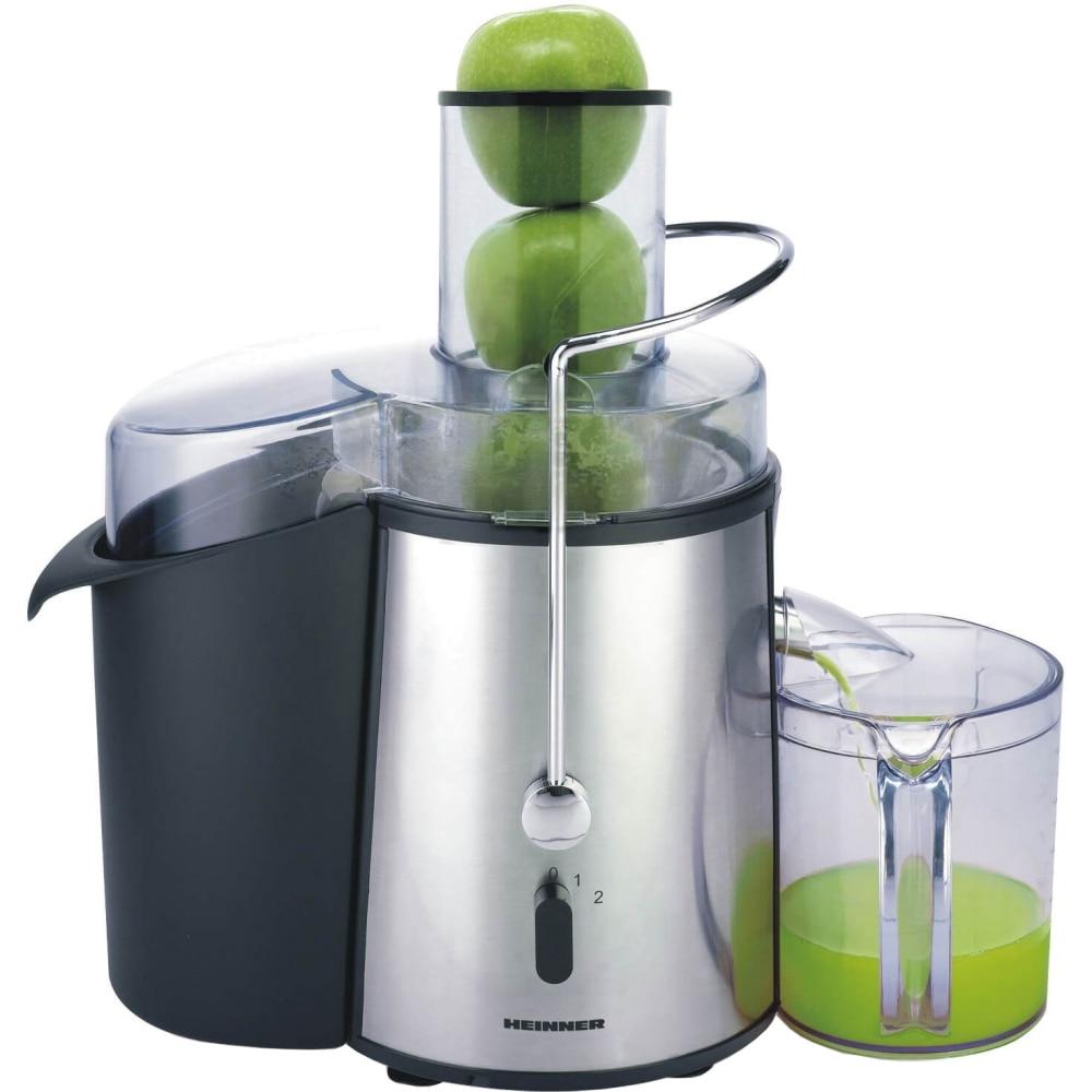 Fotografie Storcator de fructe si legume Heinner XF-1000SS, 1000 W, Recipient suc 1 l, Recipient pulpa 2 l, 2 Viteze, Tub de alimentare 75 mm, Inox