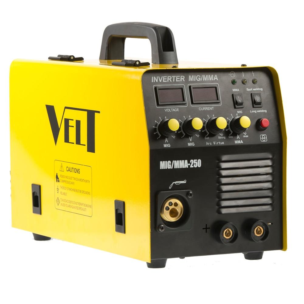 Fotografie Invertor de sudura profesional Velt MIG/MMA 250, 250 A, 230 V, diamentru sarma 0.6-1.2 mm, 19 kg, accesorii incluse
