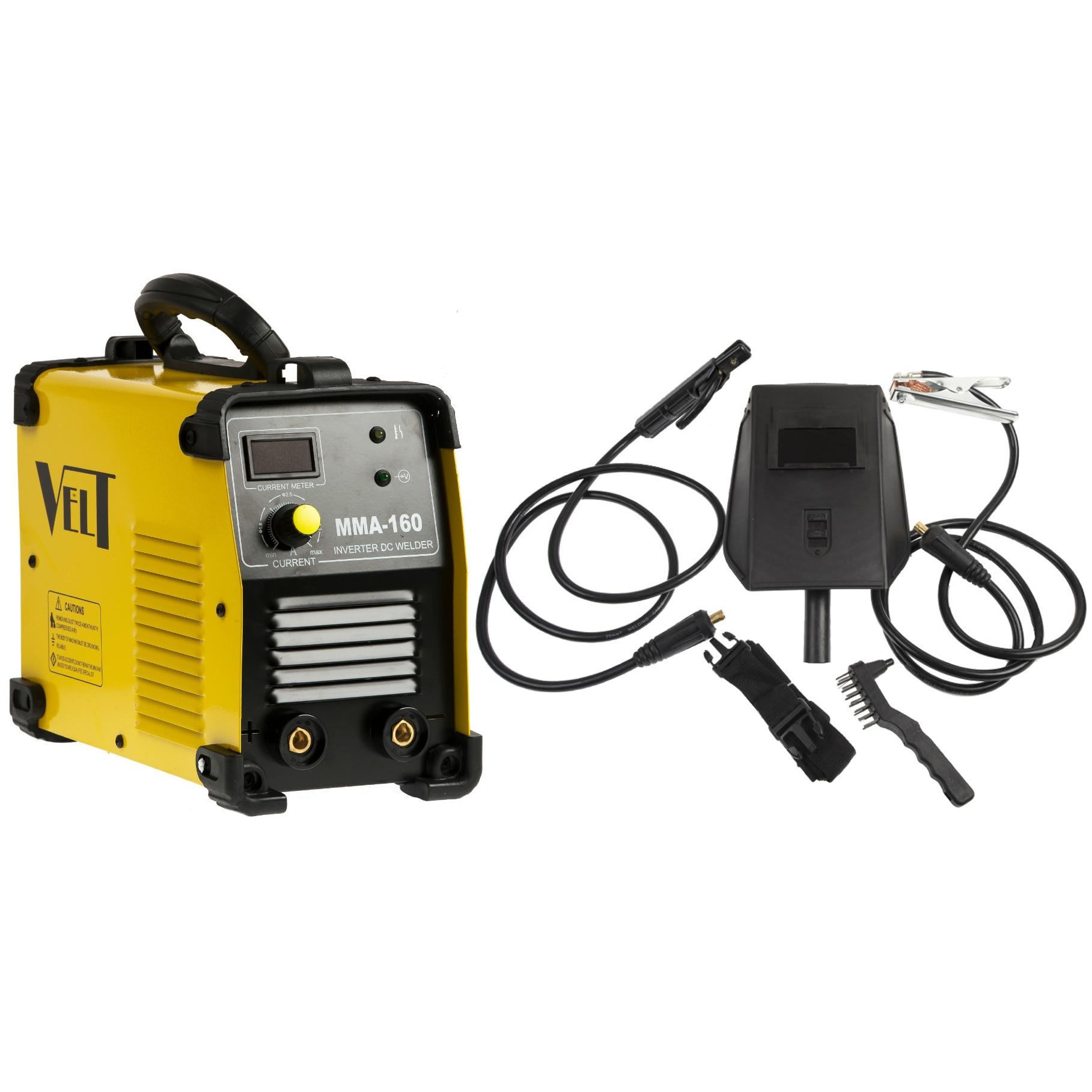 Fotografie Invertor de sudura industrial Velt MMA 160, 160 A, 230 V, electrod 1.6-4 mm, 4.5 kg, accesorii incluse