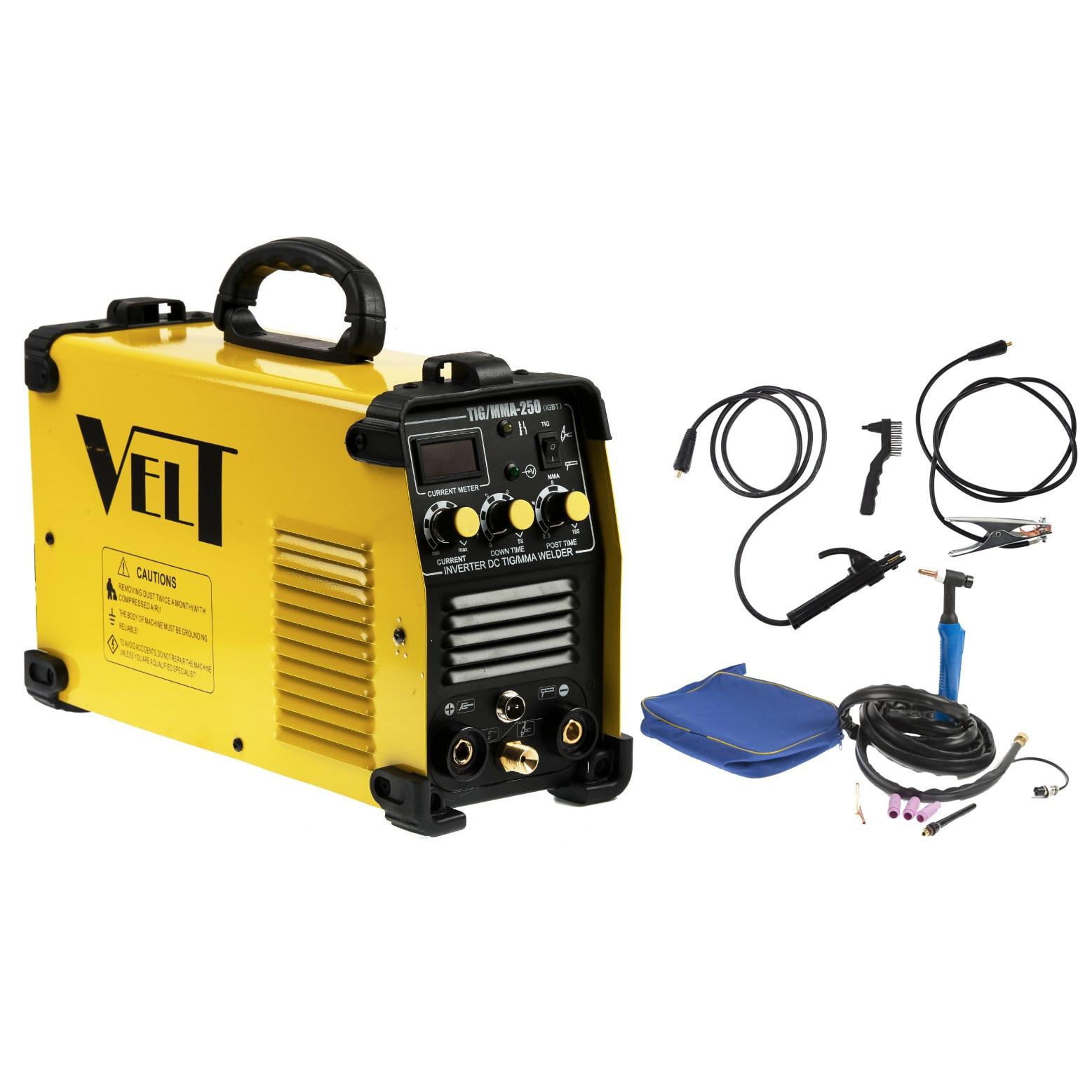 Fotografie Invertor de sudura profesional Velt TIG/MMA 250, 250 A, 230 V, electrod 1.6-5 mm, 9.5 kg, accesorii incluse