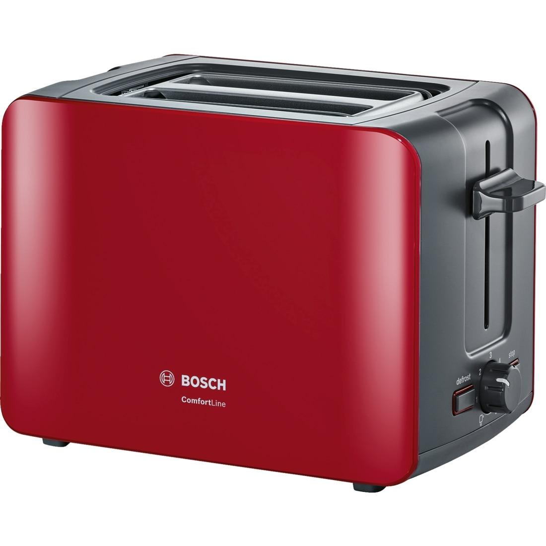 Fotografie Prajitor de paine Bosch TAT6A114, 1090w, 2 felii de paine, Rosu