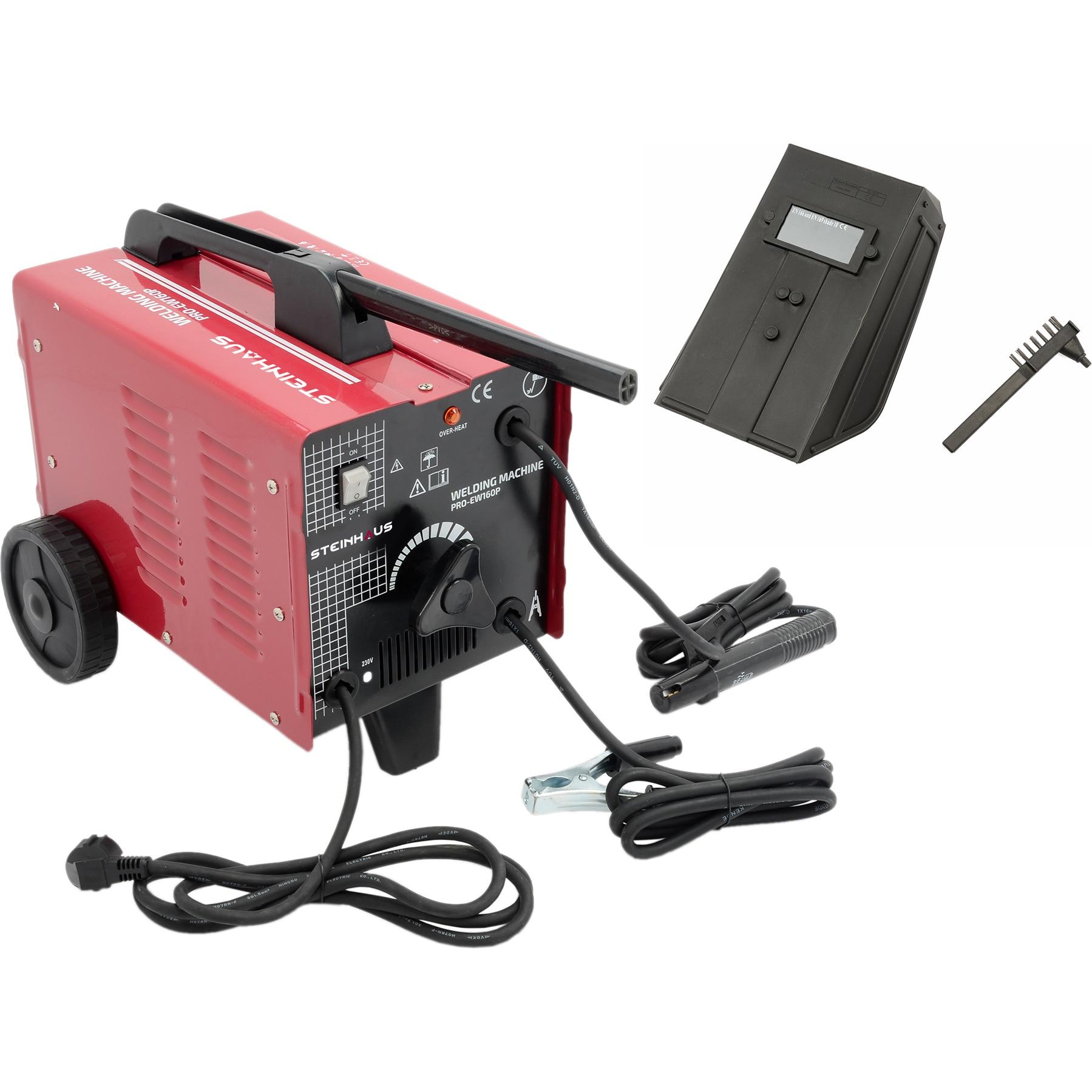 Fotografie Aparat sudura cu ventilator Steinhaus PRO-EW160P, 160A, 230V, Electrod 2-4mm, 17.5kg, Accesorii incluse