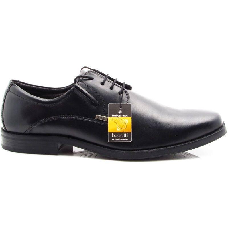 Bugatti férfi, fekete, elegáns, bőrcipő, széles lábfejre, magas rüsztre is, shock absorber T5501 1 100