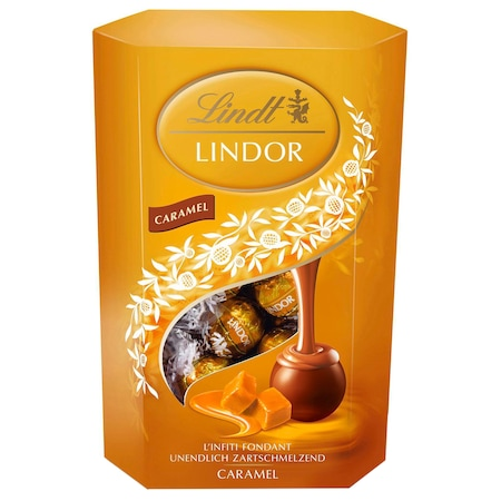 Bomboane de ciocolata Lindt cu caramel, 200 gr.
