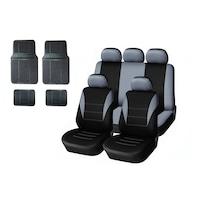 Комплект универсална сива тапицерия за предни и задни седалки с черни гумени стелки Flexzon