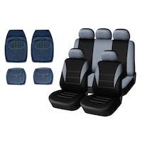Комплект универсална сива тапицерия (калъфи) за предни и задни седалки с гумени стелки тип леген Flexzon