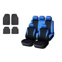 Комплект универсална синя тапицерия за предни и задни седалки с релефни гумени стелки Flexzon