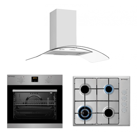 Pachet Pyramis SMARTLINE COMFORT ELEGANT 90, cuptor electric digital 5 functii, plita cu gaz, arzator wok si hota decorativa