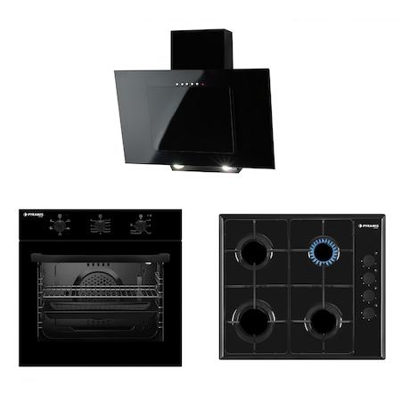 Pachet Pyramis SMARTLINE BLACK MATT, cuptor electric 5 functii, plita cu gaz si hota decorativa
