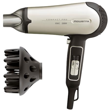 Сешоар Rowenta Compact Pro CV4721F0, Йонизираща функция, 2200 W, 2 Скорости, 3 Степени на температура, Концентратор, Дифузер, Черен/Кремав