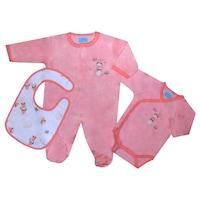 3 db-os ajándékcsomag újszülötteknek - rugdalózó, body, előke (Rózsaszín, 56 (1 hó))