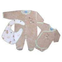 3 db-os ajándékcsomag újszülötteknek - rugdalózó, body, előke (Barna, 56 (1 hó))
